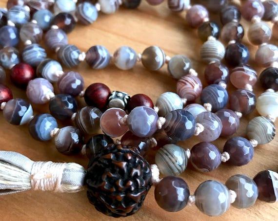 Mala Beads for Change Botswana Agate Mala Necklace Rudraksha Rosewood Boho Mala Thai Silver Meditation Prayer Bead Mala Tassel Necklace