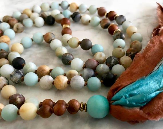 108 Amazonite Mala Beads, Sandalwood Mala Necklace, Silk Sari Tassel Necklace, Boho Jewelry, Meditation Beads, Yoga Jewelry,