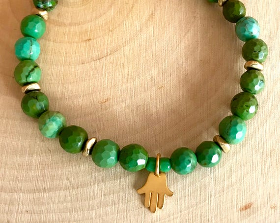 Turquoise Bracelet Stretch Bracelet, Gold Hamsa Charm, Protection Bracelet Heart Chakra Jewelry Gift with Meaning Yoga Jewelry