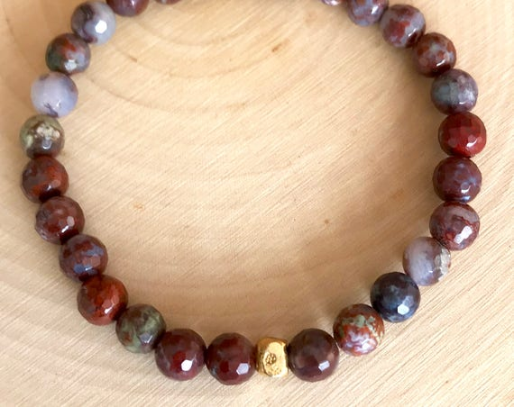 Beaded Bracelet Yoga Bracelet Red Lightning Agate Stretch Mala Root Chakra Wrist Mala Bracelet Gift for Her Yoga Jewelry Spiritual Jewelry