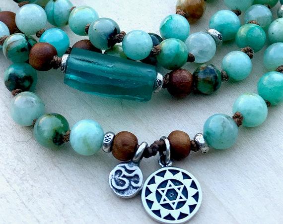 Mala Bracelet Azurite Chrysocolla Mala Beads Sandalwood Roman Glass Boho Jewelry Heart Chakra Healing Gemstones 108 Knotted Mala Beads