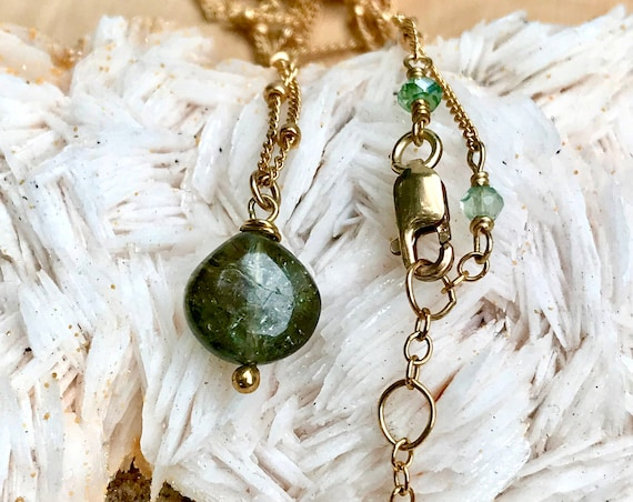 Green Tourmaline Drop Necklace October Birthstone 14K Gold Filled Satellite Chain, Everyday Necklace, Layered Necklace