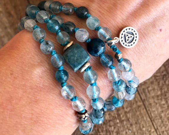 SPEAK YOUR TRUTH Mala Beads Goddess Jewelry Blue Rutilated Quartz Apatite Chrysocolla Prayer Beads Mala Bracelet Throat Chakra Healing
