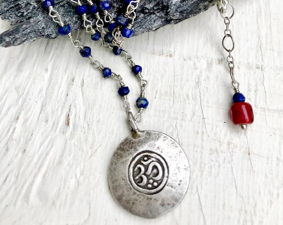 Hippie Jewelry Lapis Necklace Wire Wrapped with Thai Silver Om Pendant Yoga Jewelry