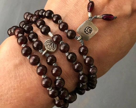 Garnet Mala Beads, Knotted Garnet Necklace, Garnet Bracelet, Chakra Healing, January Birthstone, Om, Lotus, Protection Mala, Spiritual Gift