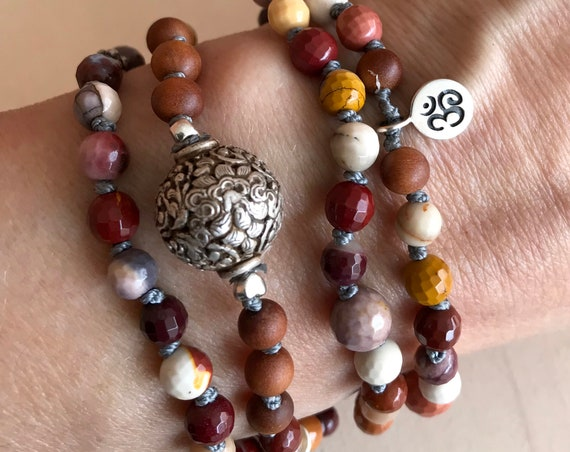 Release Negativity Beaded Bracelet Sandalwood Mala Beads Mookaite 8 Auspicious Symbol Buddhist Jewelry Meditation & Yoga Beads