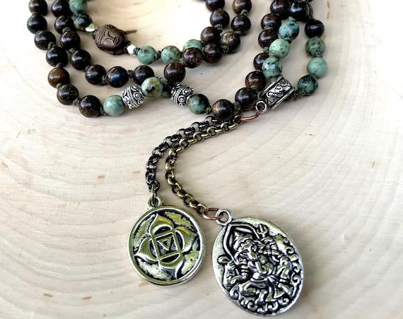 Personal Power Mala Necklace Boho Mala Beads Ganesh Necklace Bronzite African Turquoise Prayer Beads Chakra Healing Mala Yoga Necklace