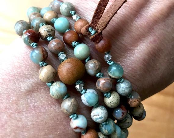Bohemian Jewelry 108 Mala Beads African Opal Sandalwood Mala Bracelet Gift For Him October Birthstone