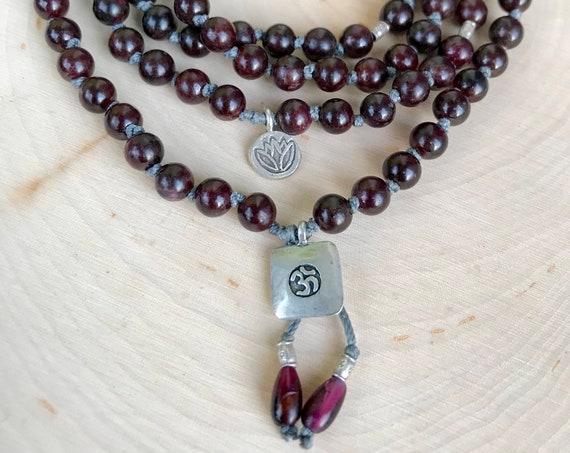Sacred Grounding Mala Beads Garnet Bracelet January Birthstone 08 Bead Mala Om Symbol Lotus Yoga Bracelet