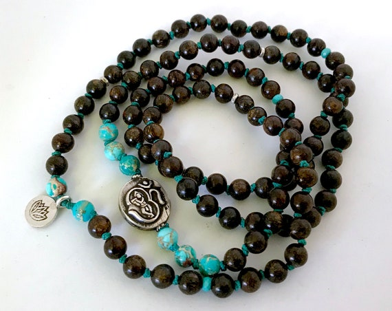 Divine Hero Mala Beads Boho Jewelry Beaded Bracelet Krishna Bronzite Sea Sediment Jasper Lotus Charm Meditation Yoga Gift Prayer Beads