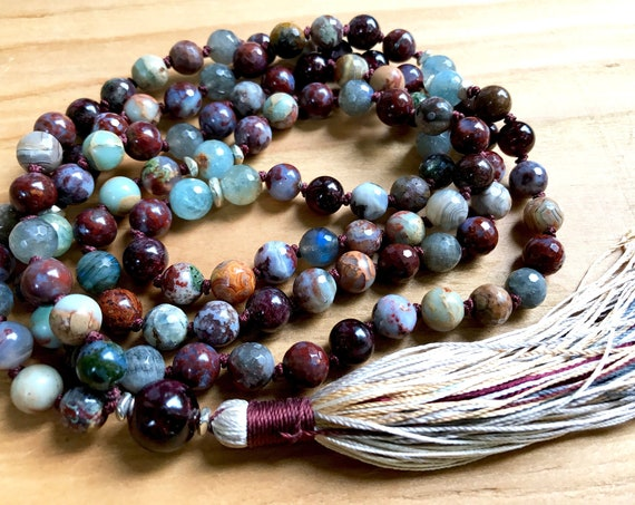 Chakra Healing Mala Beads Garnet Mala Necklace, Labradorite, Aquamarine Grounding Jewelry Agate Necklace Tassel Necklace