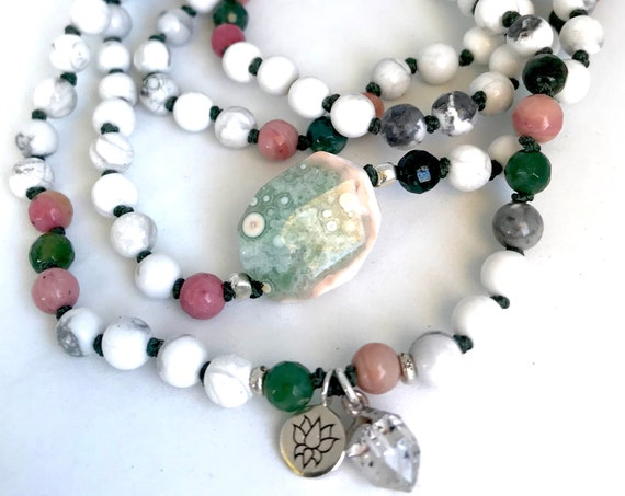 Howlite Mala Beads, Ocean Jasper Rhodonite Herkimer Diamond Beaded Bracelet Infinity Necklace
