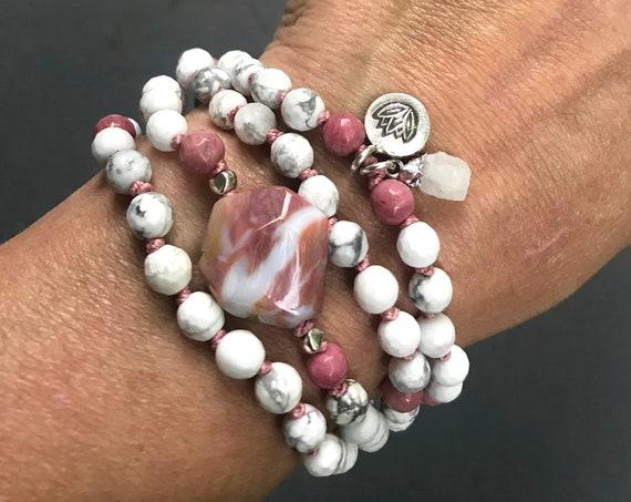 108 Mala Bracelet, Howlite Mala Beads, Rhodonite Yoga Jewelry, Raw Quartz Om Charm Bracelet