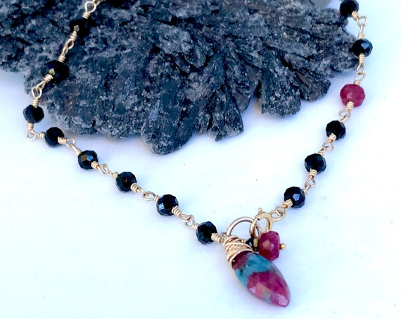 Black Spinel Bracelet Wire Wrapped Ruby Zoisite Ruby Delicate Charm Bracelet