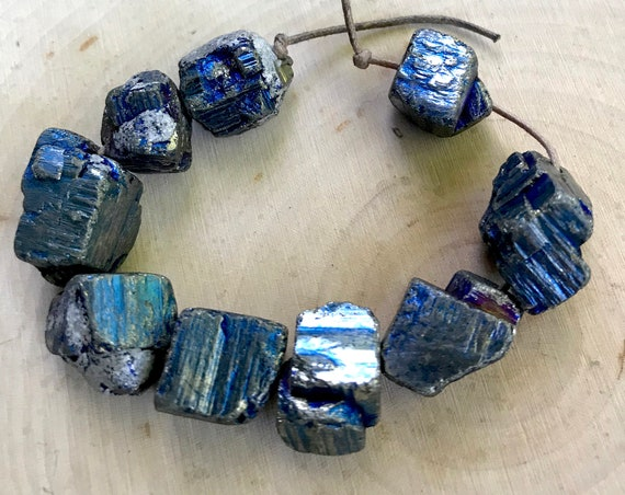 Blue Pyrite Beads Rough Cube Chunk Iron Pyrite Nugget Titanium Plated Pyrite, Loose Beads