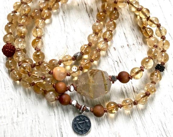 Citrine Necklace, Sandalwood Mala Beaded Bracelet Boho Jewelry Solar Plexus Chakra Healing Jewelry