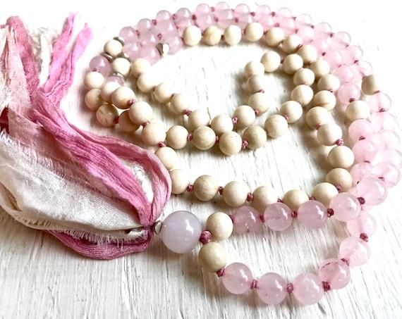 Fertility Mala Beads, Rose Quartz Beaded Necklace, Healing Gemstones Heart Chakra Mala, 108 Tassel Necklace