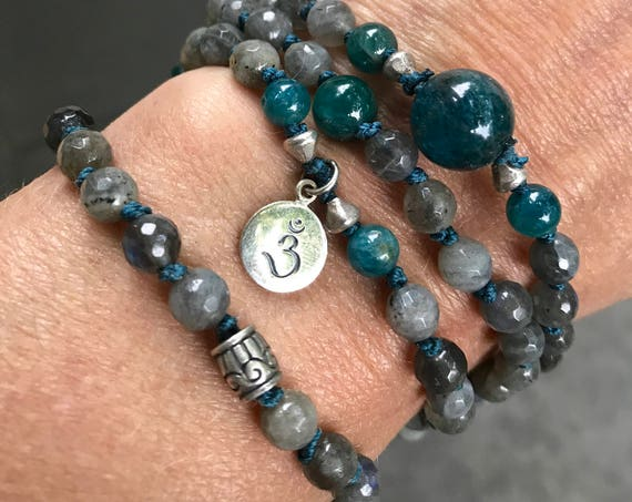 MALA FOR INTUITION Labradorite Mala Beads Apatite Necklace Chakra Jewelry Gift with Meaning Yoga Gift for Her