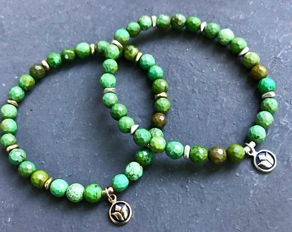 Turquoise Bracelet Mala Bracelet Stretch Bracelet Healing Crystals Yoga Gift Lotus Symbol December Birthstone Heart Chakra Jewelry