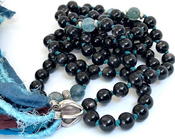 Empowerment Mala Beads Boho Mala Necklace Hypersthene Blue Rutilated Quartz Long Tassel Necklace Chakra Necklace Healing Gemstone Meditation
