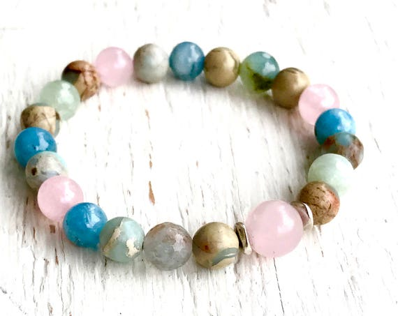Heart Chakra Wrist Mala Bracelet stretch bracelet stackable bracelet Rose Quartz Aquamarine Moonstone layered bracelets