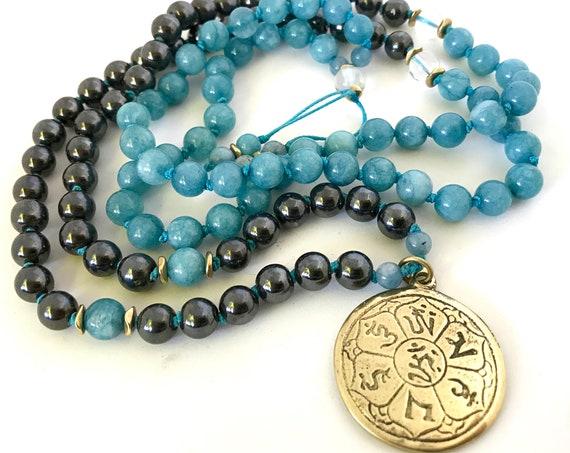 108 Mala Necklace Hematite Mala Beads Eight Limb Path Tibetan Pendant Aquamarine Necklace Boho Jewelry Yoga Gift
