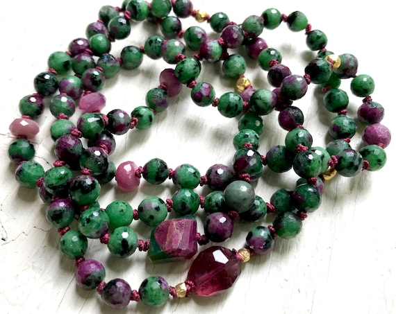 Self Love Mala Mala Beads Bracelet Infinity Necklace Ruby Pink Tourmaline Ruby Zoisite 18K Gold Heart Chakra Jewelry Healing Gemstones Yoga