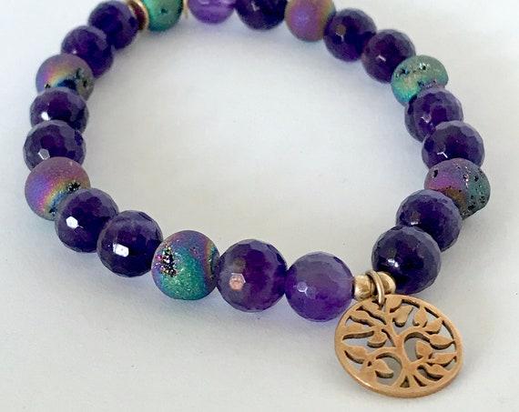 Gemstone Bracelet Druzy & Amethyst Bracelet Tree of Life Charm Bracelet Yoga Gift Stretchy Bracelet Stacking Wrist Mala Boho Bracelet