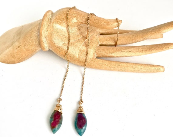 Long Threader Earrings Ruby Zoisite Dangle Earrings Ruby Jewelry Sterling Silver 14K Gold Filled