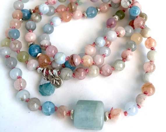 108 Mala Beads Aquamarine Necklace Morganite Beaded Bracelet March Birthstone Jewelry Charm Bracelet