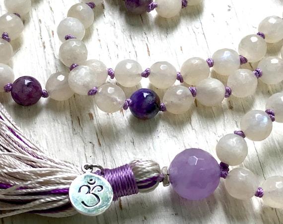 MOONSTONE NECKLACE, Amethyst Mala Beads, Meditation Beads, Crown Chakra Jewelry, Knotted Mala Beads, Spiritual Jewelry, Stress Relief,