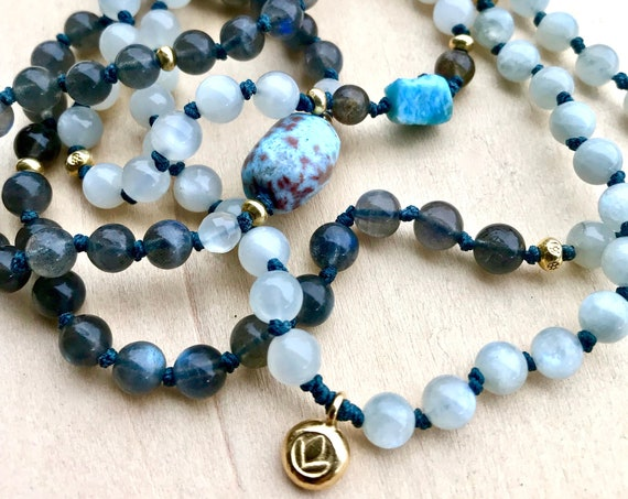 Dominican Larimar Mala Bracelet 108 Mala Beads Labradorite and Blue Moonstone Mala Necklace Yoga Jewelry Lotus Necklace