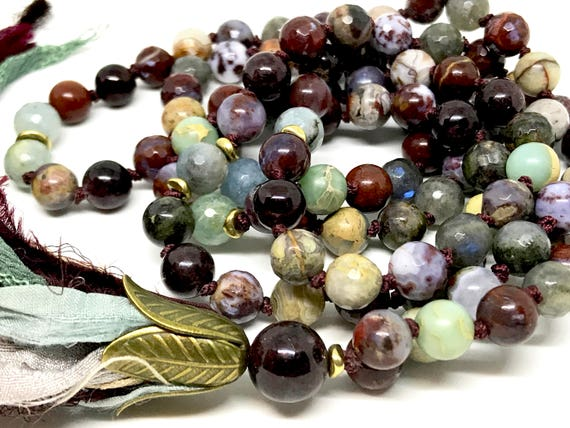 CHAKRA JEWELRY 108 Gemstone Mala Root Chakra Red Lightning Agate Garnet Aquamarine Long Necklace Spiritual Jewelry, Meditation Beads