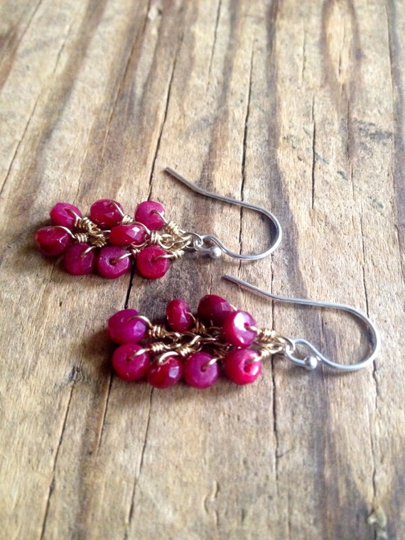 Ruby Earrings Dangle Earrings Minimalist Earrings Wedding Jewelry Genuine Ruby Mixed Metal July Birthstone Holiday Jewelry Ruby Dangles