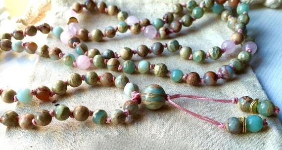 Creative Abundance Mala Beads Rose Quartz Mala Necklace African Opal Heart Chakra Healing Crystals Yoga Bracelet October Birthstone