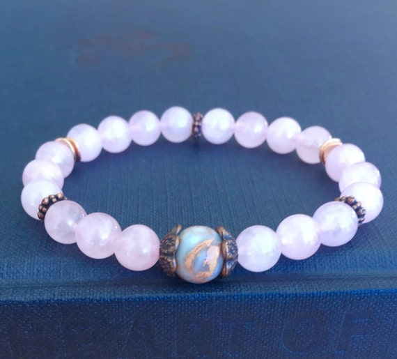 Rose Quartz Bracelet Stretch Bracelet African Opal Mala Bracelet Healing Crystals Heart Chakra Emotional Healing Yoga Spiritual Gift