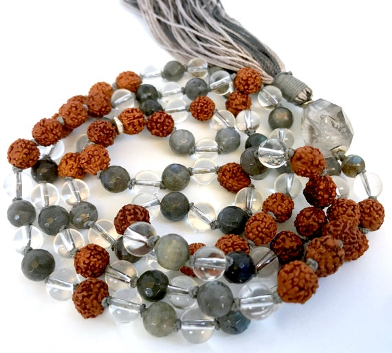 108 Mala Beads, Bohemian Jewelry, Rudraksha Tassel Mala, Labradorite Necklace Healing Stones Herkimer Diamond Long Necklace