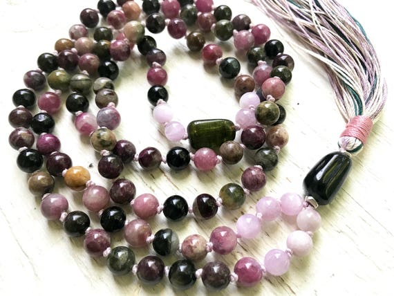 Tourmaline Mala Beads 108 Mala Necklace Kunzite Long Tassel Necklace October Birthstone Healing Gemstones