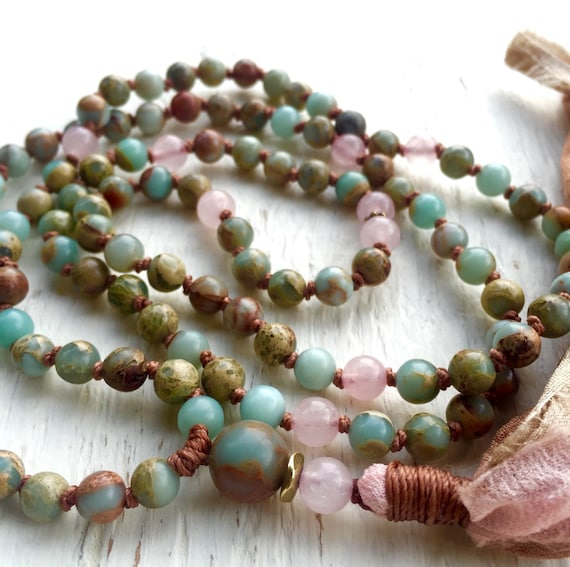 Mala Beads 108 African Opal Mala Rose Quartz Long Tassel Necklace Yoga Jewelry