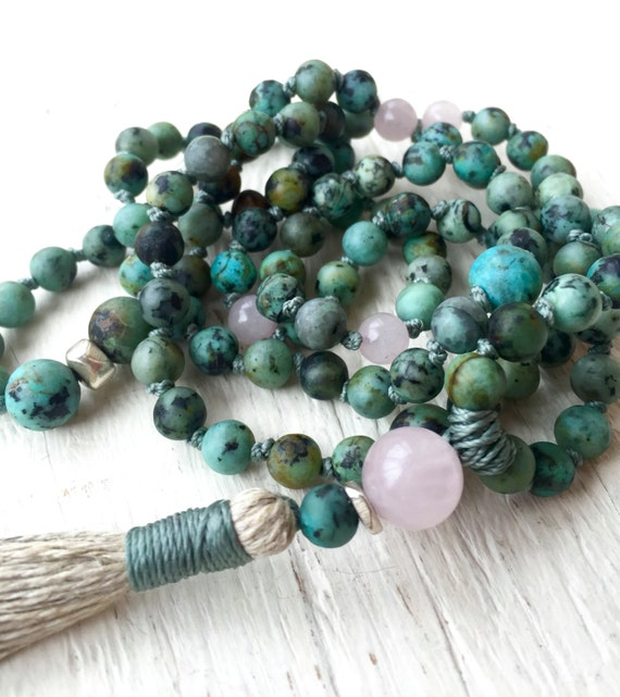 Boho African Turquoise Mala Beads, Knotted Tassel Necklace, Rose Quartz, Protection Beads, Heart Chakra Mala, Spiritual Jewelry Yoga Jewelry