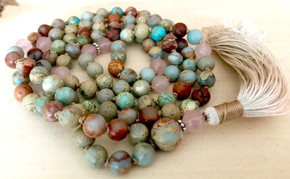 AFRICAN OPAL MALA Beads, Rose Quartz Mala Necklace, Bohemian Jewelry, Yoga Prayer Beads