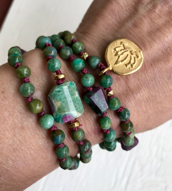 Infinity Necklace Wrap Bracelet Mala Beads Ruby Zoisite Ruby Bracelet Lotus Charm Om Charm Heart Chakra July Birthstone Yoga Jewelry