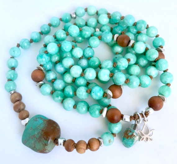 108 Mala Beads, Beaded Bracelet Amazonite Sandalwood Turquoise Mala Necklace Knotted Prayer Beads Boho Jewelry, Spiritual Gift For Her Yoga