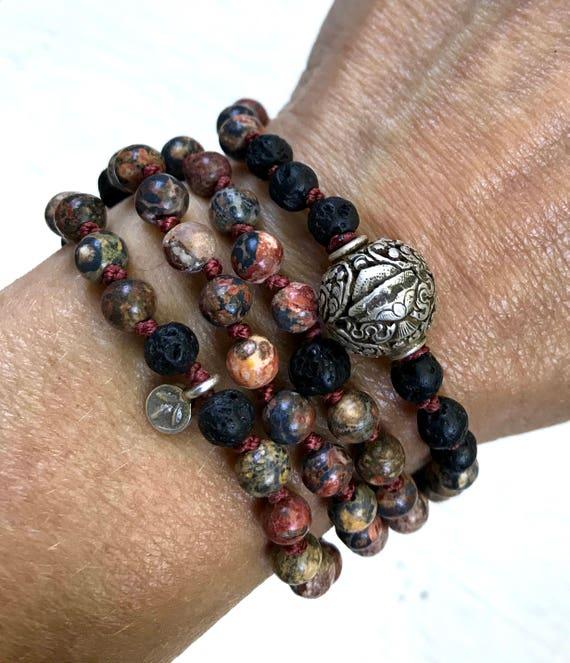 Mala Beads for Good Luck Black Lava Bracelet Boho Jewelry Leopard Skin Jasper 8 Auspicious Symbols Yoga Gift  Infinity Bracelet