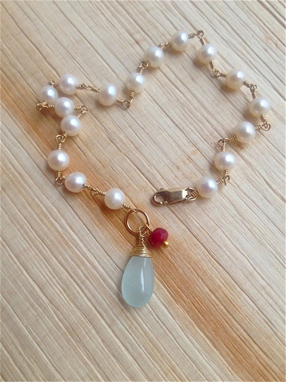 Freshwater Pearl Bracelet June Birthstone  Aquamarine Bracelet  Ruby March Birthstone Wire Wrap Holiday Gift For Her