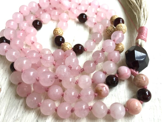 Rose Quartz Mala Beads Pink Mala Necklace Opal Garnet Prayer Beads Heart Chakra Mala Yoga Jewelry Mediation Beads for Compassion