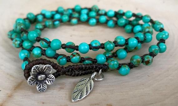 TURQUOISE BRACELET, Boho Jewelry,  Macrame Bracelet,  Lotus, Sundance, December Birthstone, Faux Leather, Boho Wrap Bracelet