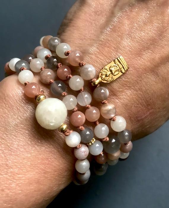 Intuition Goddess Mala Beads Moonstone Mala Necklace Beaded Bracelet Buddha Bracelet Yoga Bracelet Calming Necklace Infinity Necklace