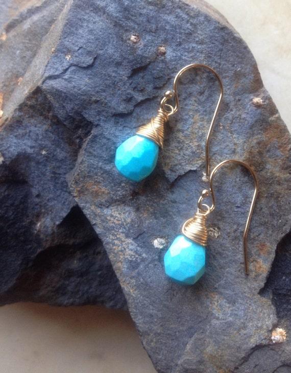 Turquoise Earrings Drop Earrings December Birthstone Arizona Turquoise Sleeping Beauty Turquoise Minimalist Earrings Girlfriend Gift