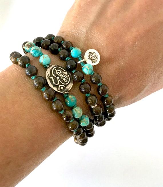 Krishna Mala Beads, Boho Beaded Bracelet,  Bronzite, Sea Sediment Jasper Lotus Charm Meditation Yoga Gift
